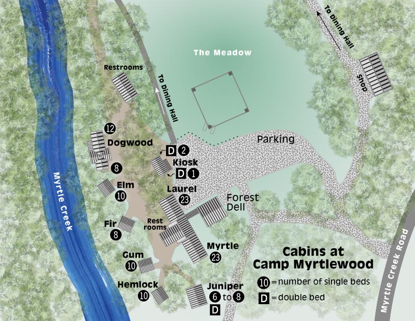 Map of Camp cabins